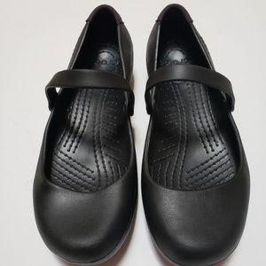 CROCS Alice Work Flat Mary Jane Black Shoes size 9